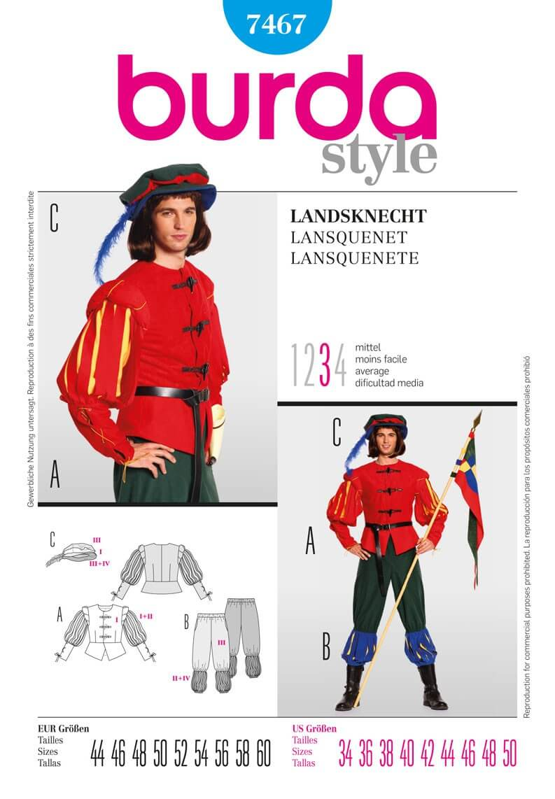 Burda Mens Middle Age Guard Lansquenet Fancy Dress Costume Fabric Sewing Pattern 7467