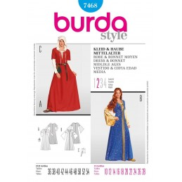 Burda Middle Age Dress & Bonnet Fancy Dress Costume Fabric Sewing Pattern 7468