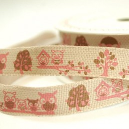 15mm Bertie's Bows Forest Friends Mr Owl Craft Ribbon