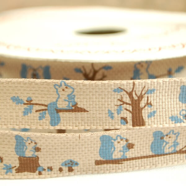 15mm Bertie's Bows Forest Friends Mr Squirrel Craft Ribbon