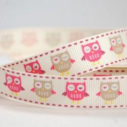 16mm Bertie's Bows Pink Winking Owl Grosgrain Craft Ribbon