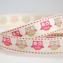 16mm Bertie's Bows Owls And Hearts Grosgrain Craft Ribbon
