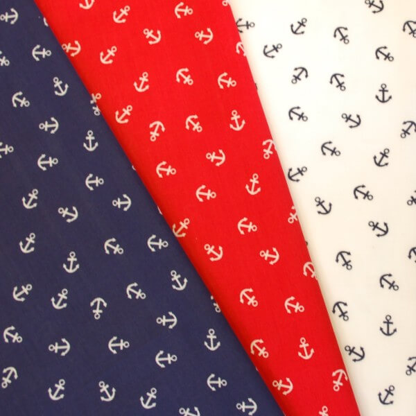 White Polycotton Fabric Anchors Sam The Sailor Scattered Nautical