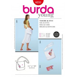 Burda Young Casual Shoulder Bag Easy To Sew Fabric Sewing Pattern 8235