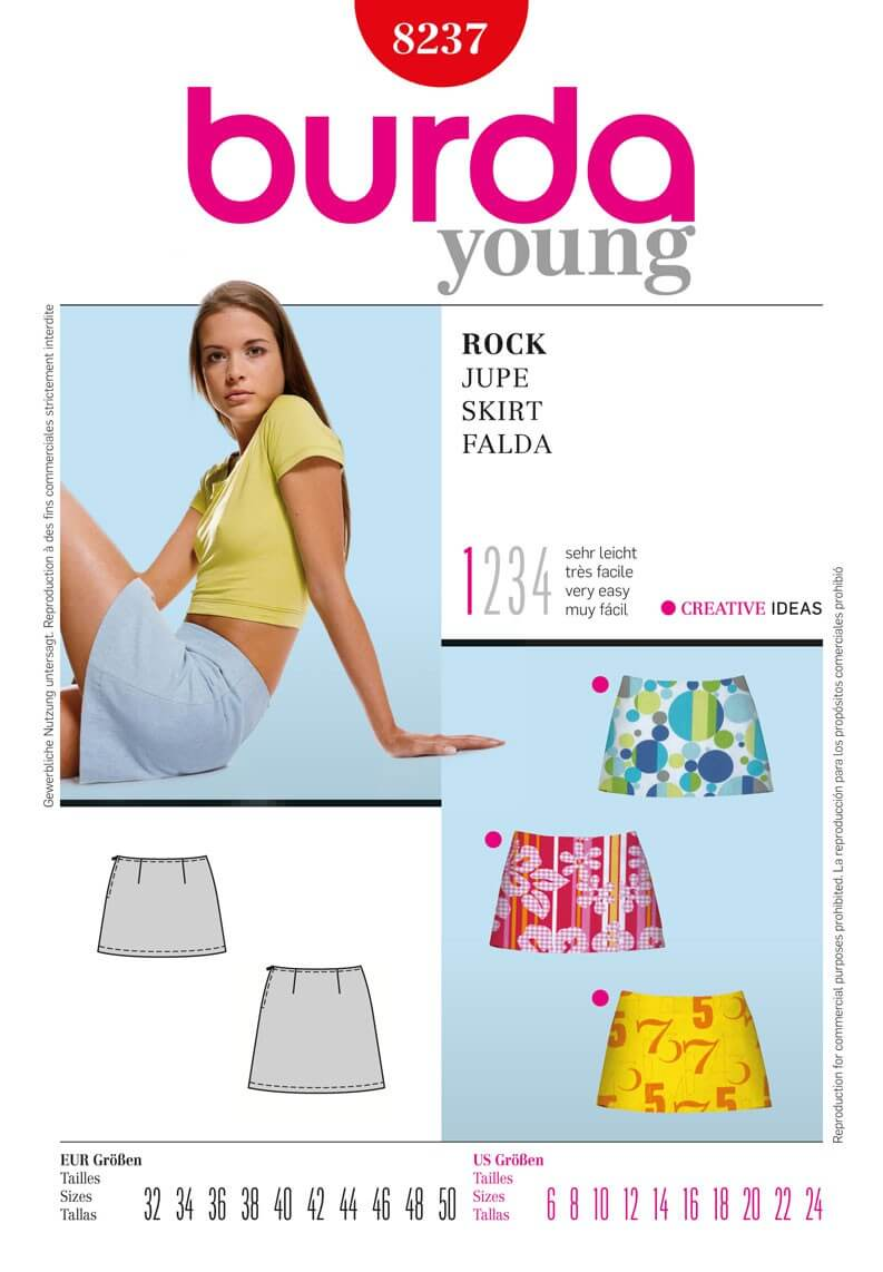 Burda Young Low Rise Short Skirt Easy To Sew Fabric Sewing Pattern 8237