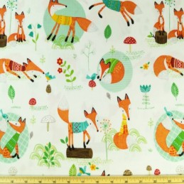 Rusty The Curious Fox And Friends Floral Wildlife 100% Cotton Fabric