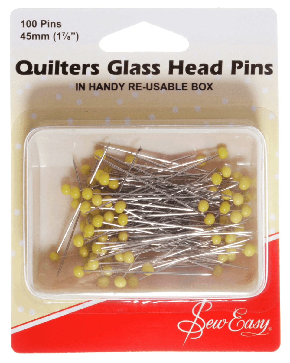 Sew Easy 100 Quilters Glass Head Pins 50mm Quilting Patchwork