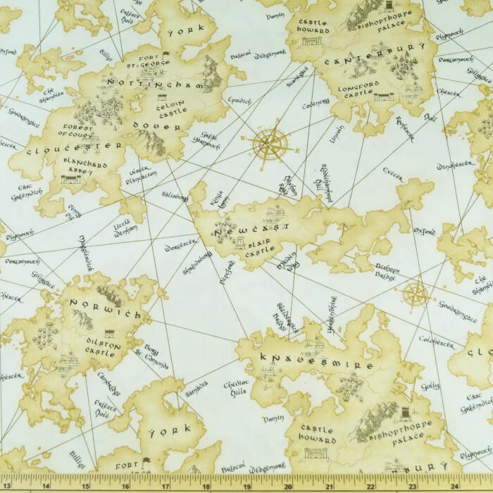 British Vintage Map County Town Castles Locations 100% Cotton Fabric