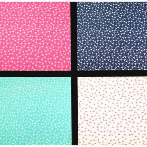 Turquoise 100% Cotton Poplin Fabric Rose & Hubble Tiny Stork Flamingo Tossed Bird