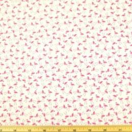 White 100% Cotton Poplin Fabric Rose & Hubble Tiny Stork Flamingo Tossed Bird