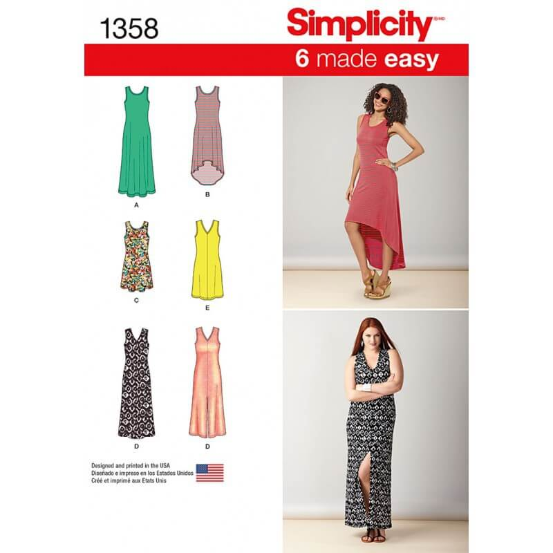 Misses' Dresses Length Variations Simplicity Fabric Sewing Pattern 1358