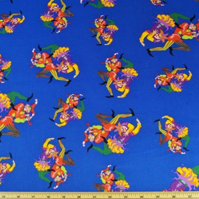 The Entertainer Clowns Circus Joker 100% Cotton Fabric 135cm Wide