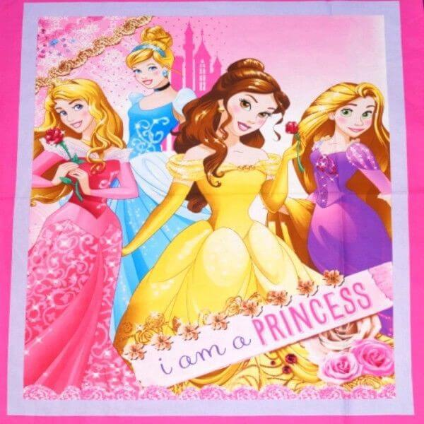 Disney I Am A Princess Sparkle Floral 112cm x 90cm 100% Cotton Fabric