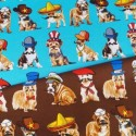 100% Cotton Fabric Benartex Who's Your Doggy Fancy Dress Dogs