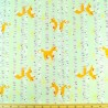 Good Natured Foxes In The Forest Trees On Mint 100% Cotton Fabric