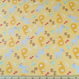 Cartoon Forest Animals Deer Squirrel Fox Bird 100% Cotton Fabric