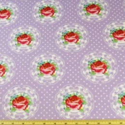 Sale Romantic Roses In Lace Circles Polka Dots 100% Cotton Fabric 135cm Wide