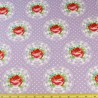 Romantic Rose Of Love In Circles Polka Dots 100% Cotton Fabric 135cm Wide