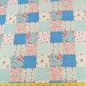 Polycotton Patchwork Floral Ditsy Flowers Squares Bows Fabric Blue