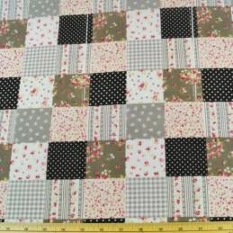 Polycotton Patchwork Floral Ditsy Flowers Squares Bows Fabric Black