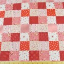 Polycotton Patchwork Floral Ditsy Flowers Squares Bows Fabric Red