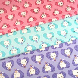 Winking Diva Kitty Cats In Hearts 100% Cotton Fabric 150cm Wide