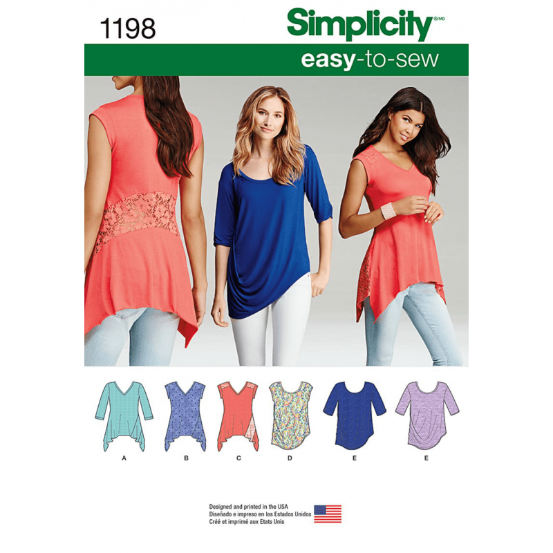Easy To Sew Ladies Tops Simplicity Fabric Sewing Patterns 1198
