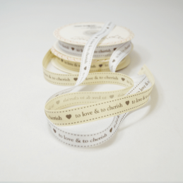 16mm To Love & To Cherish Bertie's Bows Grosgrain Heart Craft Ribbon