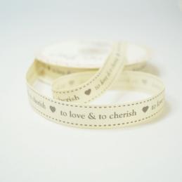16mm To Love & To Cherish Bertie's Bows Ribbon Grosgrain Heart