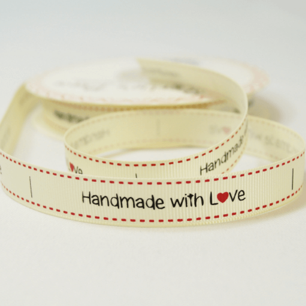 16mm Handmade With Love Bertie's Bows Grosgrain Craft Labels Ribbon