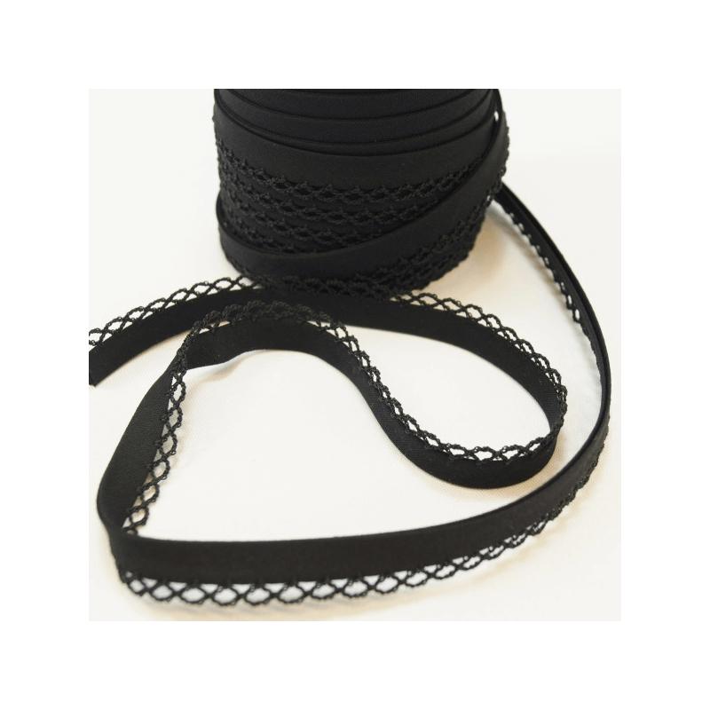 Black 12mm Fany Lace Edge Plain Double Fold Bias Binding
