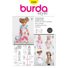 Burda Style Dolls Clothes Dress Trousers Costume Fabric Sewing Pattern 8308