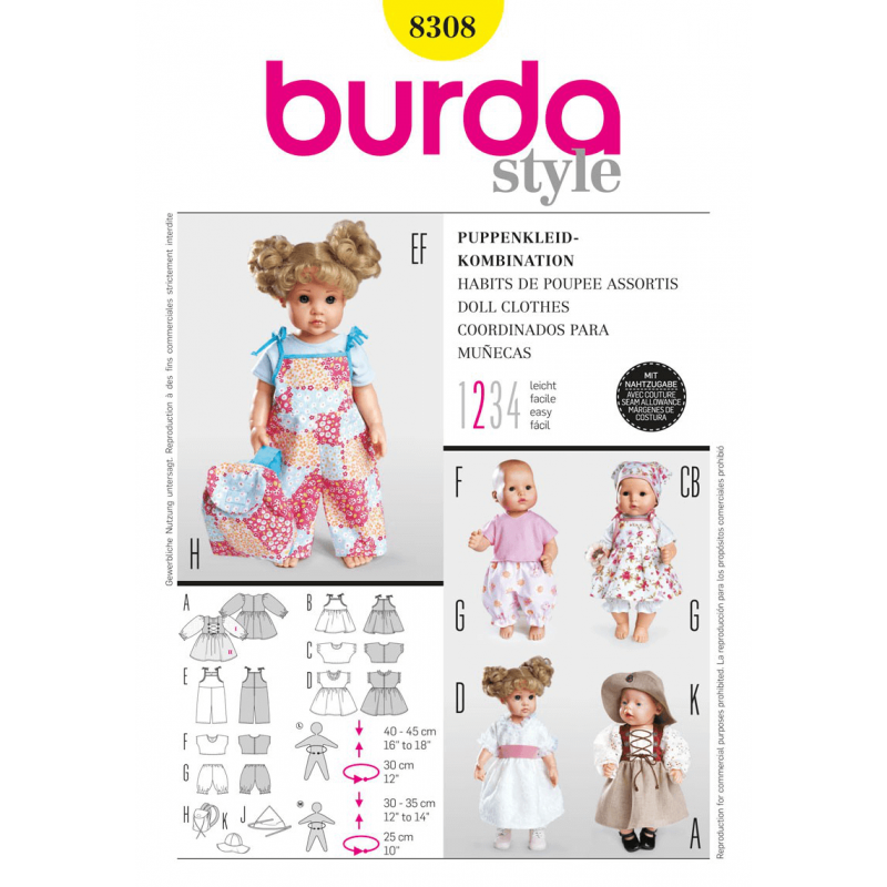Burda Style Dolls Clothes Dress Trousers Costume Fabric Sewing Patt...