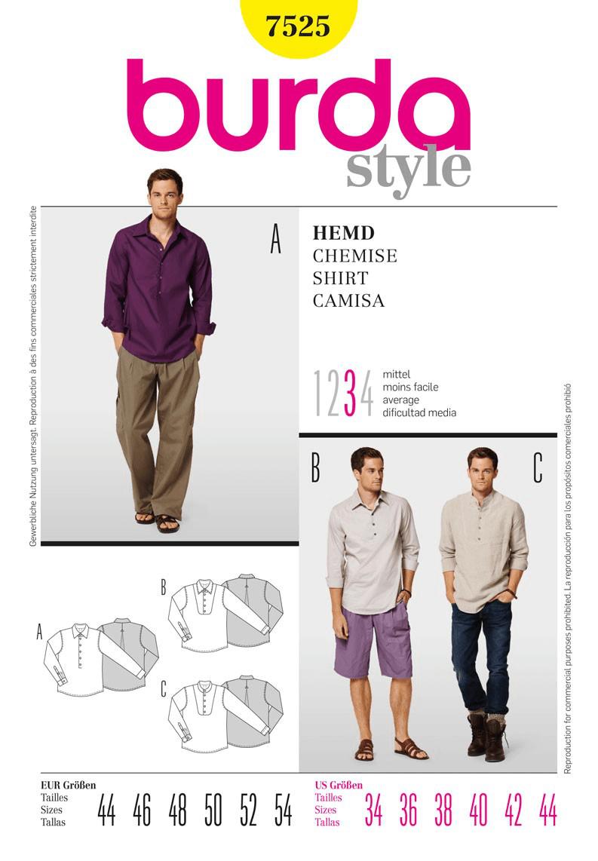 Burda Style Mens Shirt & Polo Shirt Fabric Sewing Pattern 7525
