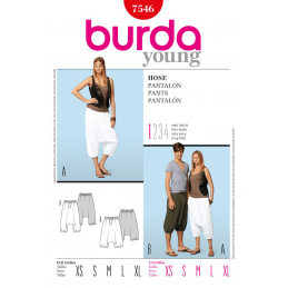 Burda Style Harem Trousers Fabric Sewing Pattern 7546