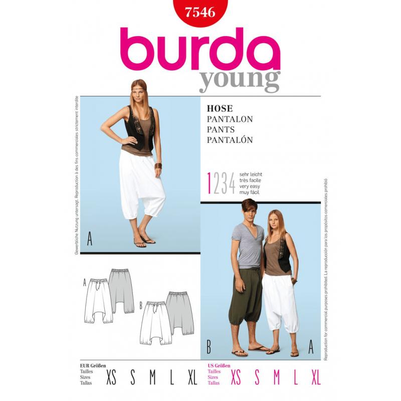 Burda Style Harem Trousers Fabric Sewing Pattern 7546