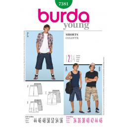 Burda Sewing Pattern 7381 Young Men Teens Summer Shorts Fabric