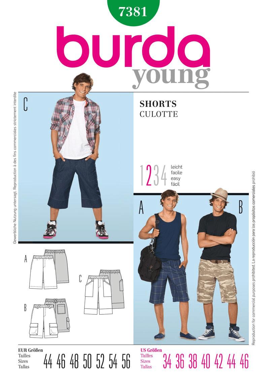 Burda Young Men Teens Summer Shorts Fabric Sewing Pattern 7381