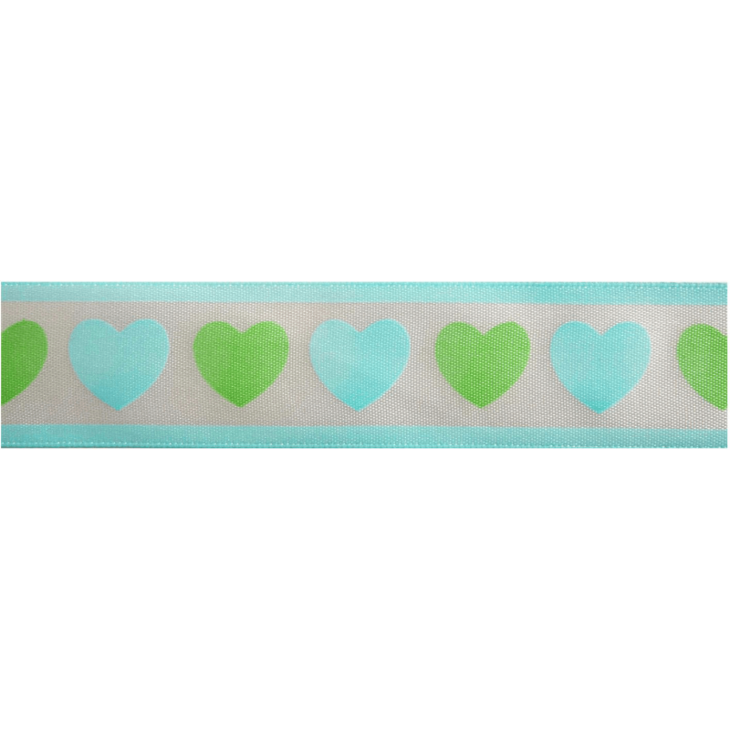 25mm x 3m Multi Colour Hearts Ribbon Craft By Celebrate Ribbon Love