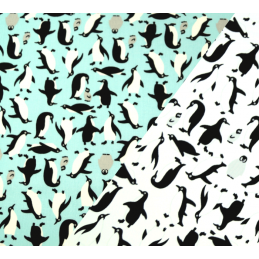 100% Cotton Poplin Fabric Rose & Hubble Happy Flappy Adélie Penguins Of Antarctica