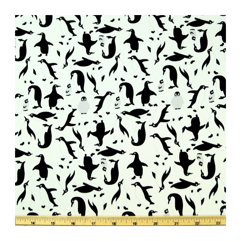 White 100% Cotton Poplin Fabric Rose & Hubble Happy Flappy Adélie Penguins Of Antarctica
