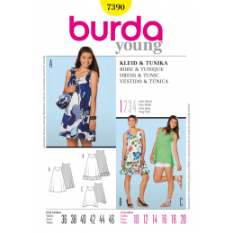 Burda Young Sleeveless Dress & Tunic Dress Fabric Sewing Pattern 7390