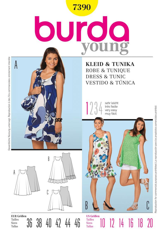 Burda Young Sleeveless Dress & Tunic Dress Fabric Sewing Pattern 7390