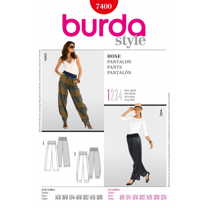 Burda Style Comfortable Trousers Fabric Sewing Pattern 7400
