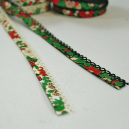 1m Fany 12mm Lace Edge Christmas Holly Poinsettia Double Fold Bias Binding