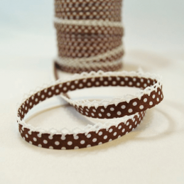 Polka Bias Chocolate Brown