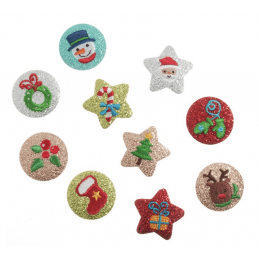 Merry Christmas Glittery Circle Festive Xmas Iron On Motifs Craft