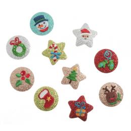 Merry Christmas Glittery Circle Festive Xmas Iron On Motifs Craft