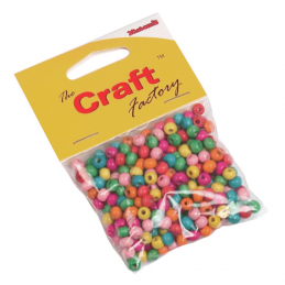 Trimits Craft Factory Wooden Bright Coloured Round Beads