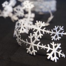 1 Metre Satin Cut Outs Snowflakes Christmas Festive Bertie's Bows Ribbon Trim